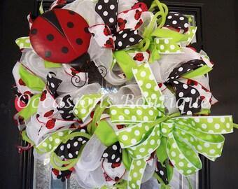 Spring Wreath, Summer Wreaths, Door Hanger, Front door wreaths, Wreath for door, Lady Bug, Deco Mesh wreaths, Ready to Ship