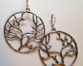 Branch Earrings / Tree of Life / Hoop Earrings / Customizable Brass or Silver Statement Jewelry / Leverback Earrings