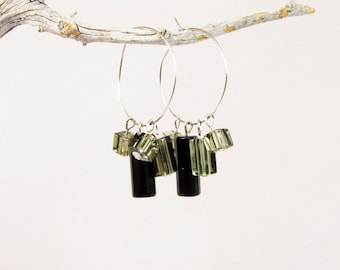 Silver Hoop Earrings,  Black Onyx Earrings, Glass Earrings, Geometric Earrings, Tubes Earrings, Delicate Earrings, Glass Earrings