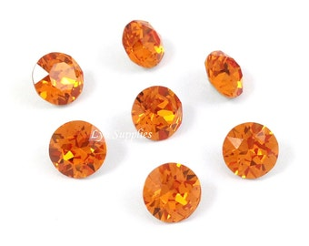 1088 ss39 TANGERINE 12pcs Swarovski Crystal Xirius Chaton Pointed Back Round Stone, Orange