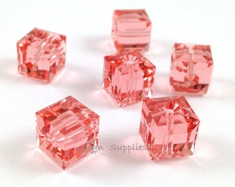 5601 ROSE PEACH 8mm Swarovski Crystal Cube Beads 6pcs