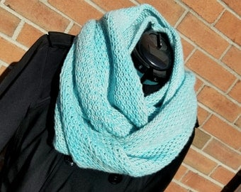 Sky Blue Merino Wool Infinity Scarf, Blue Merino Wool Cowl, Oversized Sky Blue Infinity Scarf