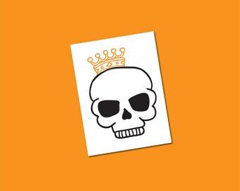 halloween skull tattoo king skeleton royal skull temporary tattoo black orange halloween costume king pirate tattoos - Halloween Skull