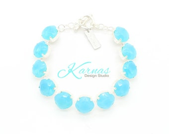 MISTY DAYDREAM 12MM Aqua Opal Doublet Bracelet Cushion Cut *Pick Your Finish *Karnas Design Studio *Free Shipping*