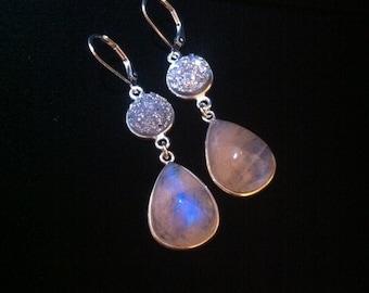 Druzy/Rainbow Moonstone Earrings
