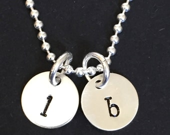 Sterling Silver Initial Necklace, Hand Stamped Charm Disc Necklace, Personalized Necklace, Mommy Necklace