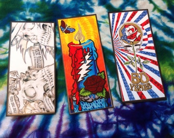 Magnet tickets Singles or All 3 Grateful Dead 50th anniversary Fare thee Well CHICAGO Tickets hand embelished laminated Magnets