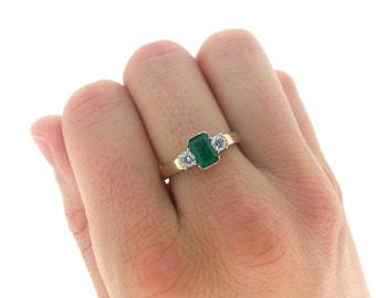Handmade Emerald Engagement Ring, Emerald and Diamond Stone Gold Ring, Gold Emerald Ring