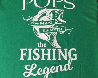 POPS Shirt - Fishing T-Shirt - Gift for Grandpa - Father's Day Gift - Fisherman Gift - Fishing Legend - Grandfather Gift