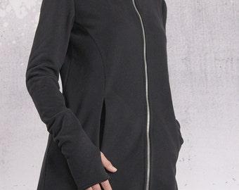 Jacket, Black coat, Quilted cotton jacket, Black sweatshirt, Black blazer, Hoodie by UrbanMood - FP-MAGI-QC