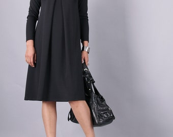 Black Dress, knee length dress, little black dress, Midi dress, long sleeves dress, a line dress, Minimalist dress, UrbanMood - CO-BERI-PU