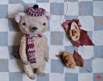 Artist teddy bear OOAK 6 inch tall handmade small in costume