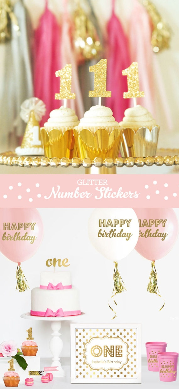Gold Glitter Number Cup Cake Toppers Diy Glitter Number Stickers