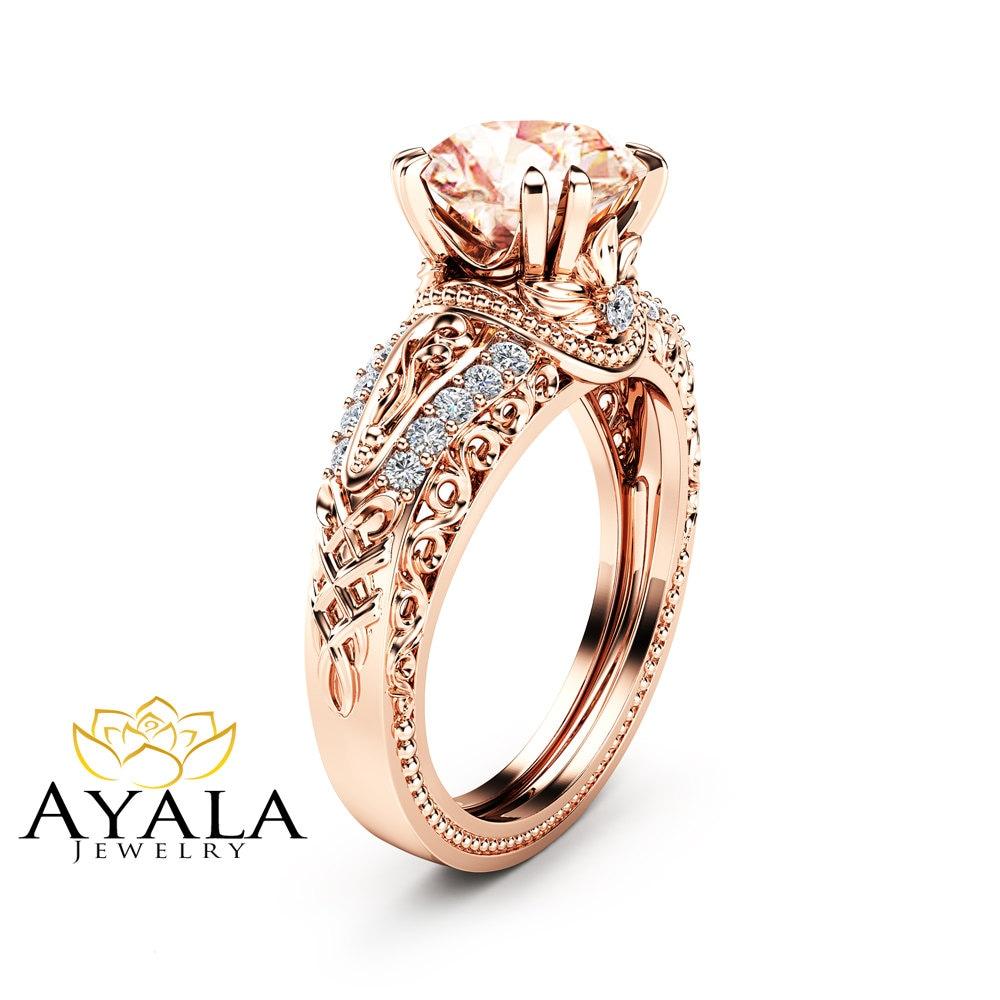 Morganite Vintage Engagement Ring 14K Rose Gold Morganite Ring