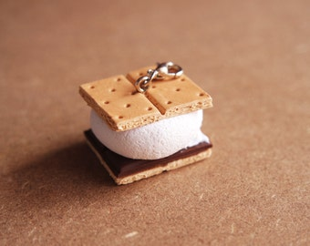 Smore Charm - Miniature Food Jewelry. Campfire Party. Camping Favors. Polymer Clay Food. Smore Gifts.
