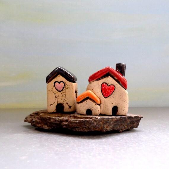 romantisches geschenk wei e h user keramische von ednapio auf etsy. Black Bedroom Furniture Sets. Home Design Ideas
