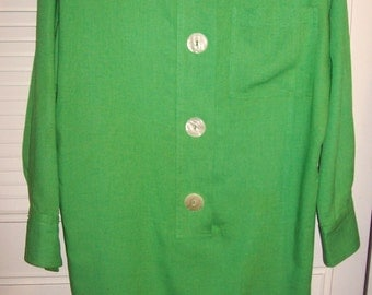 Dress 10,  Raul Blanco for Eneste Green Linen Wedge Dress.  Size 10 - 12