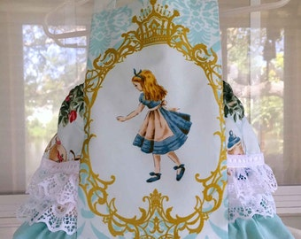 Alice in Wonderland - Baby Girl Sunsuit, Romper Bubble with Ruffles, Ruffle Sunsuit, Children Boutique Clothing