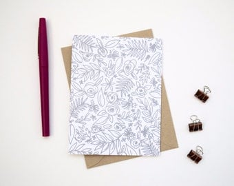 Card - Floral Array | Illustrated Blank Card, Just Because Card, Social Stationery, Flower Card, Floral Card