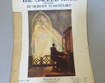 RELIGIOUS SHEET MUSIC,Piano Sheet music,The Sacred Hour,Church sheet music, collectible piano music,1920s piano music,gift for pianist
