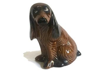 CERAMIC BROWN Dog,Decorative Vintage Figure,MCS Brazil china dog,Brown dog with long ears,ceramic figure, ceramic animal figure, collectible