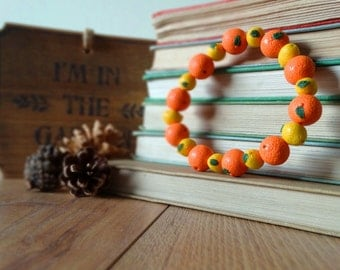 By the Shed Oranges and Lemons Bracelet - Beads - Fruit - Vegetables - Gardening - Gift - Unique - Good Life - Vegetarian - Nursery Rhyme