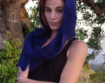 Knit Cowl Scarves Shawl Womens Winter Scarves Circle Scarves Winter Scarves Blue Scarf Womens Scarves Unique Scarves Knitted Scarves Scarf