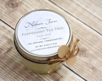 Natural Sugar Scrub – Peppermint Tea Tree Sugar Scrub – Exfoliating Scrub – Bath Scrub – Shower Sugar Scrub – Handcrafted Sugar Scrub