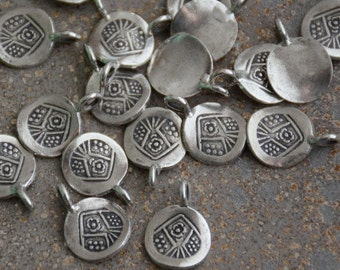 Round Hill Tribe Silver Stamped Charm,Thai Hill tribe Silver,Tribal Charm,Charms for Bracelets,Hill tribe Beads,10mm,2mm Bail, 10 Pack, AL16