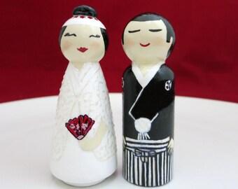 Wedding cake topper, Wedding dolls, Japanese wedding dolls, Bride and Groom, cake toppers, wedding couple, Wedding gift, Home Decor