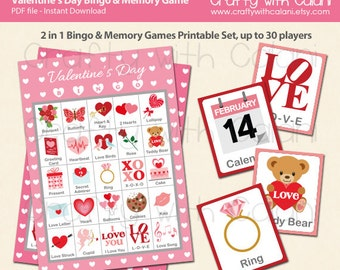 Valentine's Day Bingo & Memory Game, Printable Valentine's Day Bingo Game, 2 in 1 Valentine's Day Party Game Bingo and Memory Game