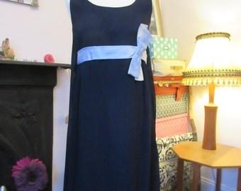 1960s Chiffon & Satin Bow Detail Evening Dress, Short Length. GC. Approx. Size 10-12.