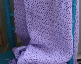 Knit Baby Afghan Lilac Purple