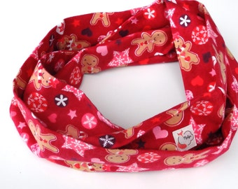 Children infinity scarf, flannel 100% cotton child circle scarf, gingerbread Christmas scarf