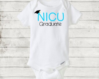 Blue NICU Graduate Onesie/Bodysuit for your graduating NICU baby. Preemie Baby Boy Onesie. Preemie Baby gift
