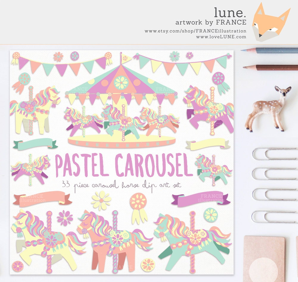 GET 4 FOR 3. Pastel Carousel Horse Clipart. Little Pony. Cute