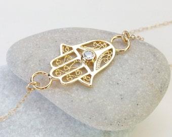 Hand of god necklace etsy gold hamsa necklace hand of fatima gold hand necklace protection charm gold aloadofball Choice Image