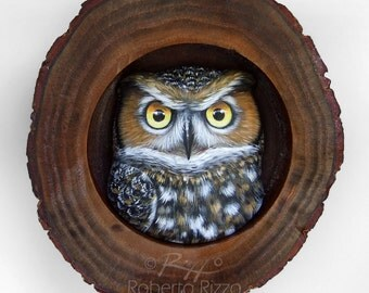 Long-Eared Owl's Den | A Fantastic Lucky Charm to Decorate your Home and a Unique Gift Idea for Owl Lovers! Painted Owls by Roberto Rizzo