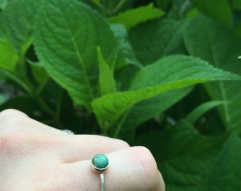 Large Turquoise Stacking Ring, Sterling Silver Turquoise Ring Size 6-6.5 {READY TO SHIP}