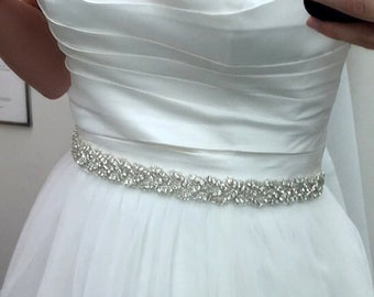 Stunning Crystal Bridal Sash,Wedding Dress Sash Crystal Rhinestone Belt , Bridal Bridesmaid Sash, Wedding dress sash - LUNA