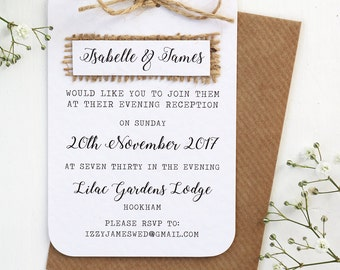 Rustic, Burlap, Hessian Evening Invitation with Twine Bow Detailing
