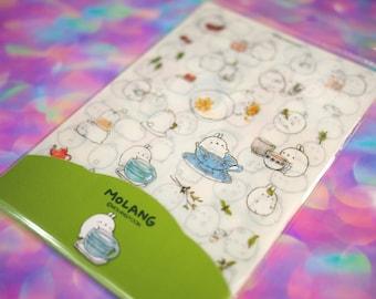 Molang Stickers Set A / Six Kawaii Molang Sticker Sheets / Kawaii Bunny Japanese Stickers / Cute Rabbit Stickers Scrapbook Planner Stickers