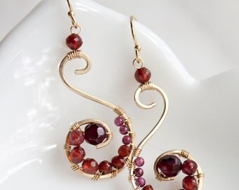 Wire wrapped Red Garnet Earrings, Red Ombre Statement Jewelry, Gold Filled Chandelier Earrings