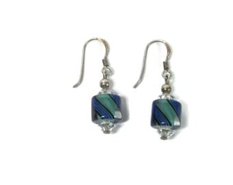 Simple Blue and Green Lampwork and Crystal Dangle Earrings