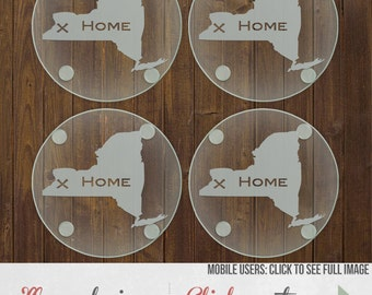 Etched Hometown Glass Coasters - Personalized Gift