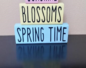 Spring Wood Blocks - Spring Decor - Wood Blocks - Spring Blocks - Spring Wood Blocks - Easter Decor - Spring Decoration - Easter Decoration