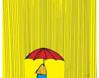 Girl With Umbrella - Handmade Art Print With Pen & Ink, Then Colored Digitally.