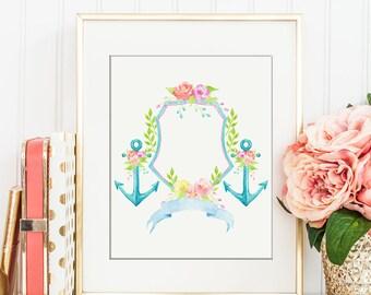 Watercolor Floral Anchor Crest for Instant Download, wedding crest, family crest, crest printable