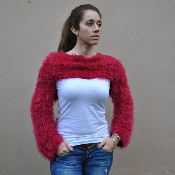 Red wraparound shrug hand knit faux fur sweater women's