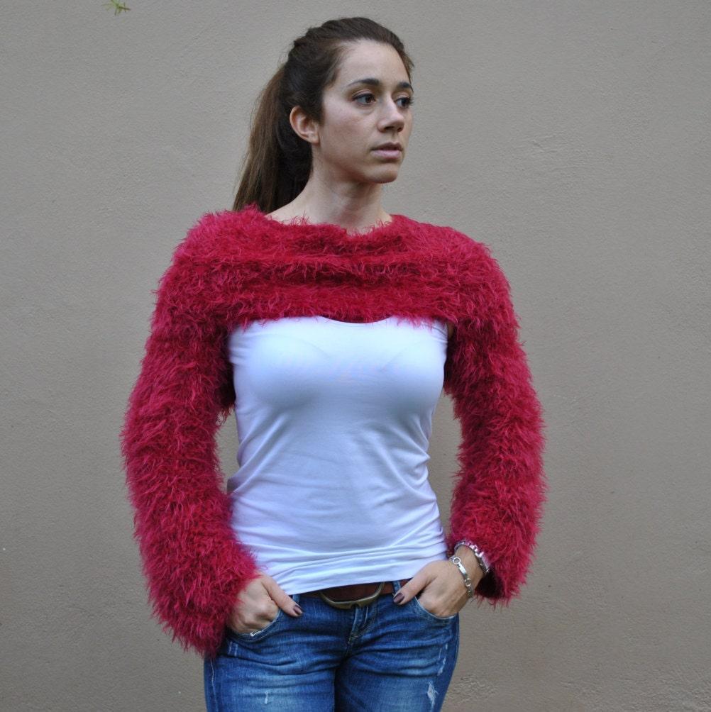 Red wraparound shrug hand knit faux fur sweater women's